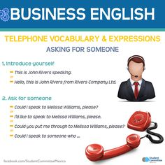 """British Council - Business English """"telephone vocabulary and expressions"""" English Fun, English Tips, English Idioms, English Phrases, English Writing, English Class, English Lessons, English Words, English Vocabulary"""