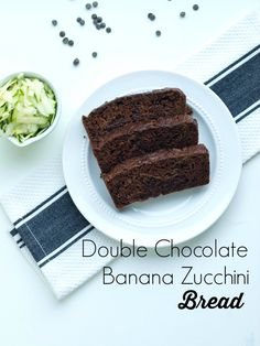 Double Chocolate Banana Zucchini Bread recipe.  A healthy quick bread recipe that tastes like cake!  Chocolate batter with chocolate chips takes this one over the top--LOVE.