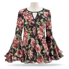 Floral Bell-Sleeve Tunic - Women's Clothing & Symbolic Jewelry – Sexy, Fantasy, Romantic Fashions