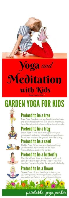 FITNESS FOR KIDS - Yoga and Meditation with Kids. Meditation during yoga can teach children relaxation techniques and how to reduce stress and also provides other amazing health benefits. - My Yoga Slim Yoga For Kids, Exercise For Kids, Kids Yoga Poses, Workouts With Kids, Kids Workout, Quick Workouts, Yoga Workouts, Yoga Exercises, Chico Yoga