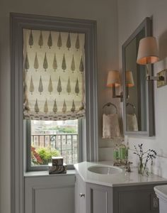 Bathroom, Eclectic room by Lauren Stern Design - Painted gray window casings and vanity in this Manhattan penthouse designed by Lauren Stern.