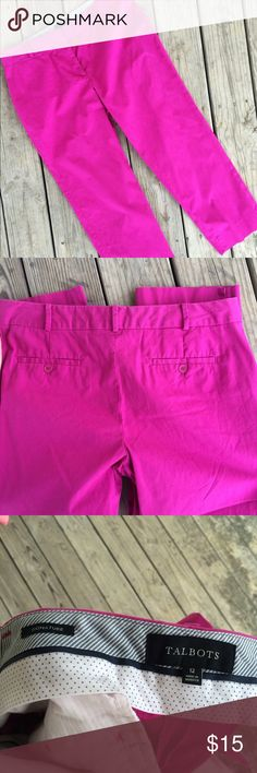 Talbots Signature Pants 12 Gorgeous pair of pants/slacks/trousers from Talbots. Size: 12. Purplish-pink color. Fastens via zipper and clasps in the front. Good condition! Talbots Pants Trousers