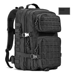 REEBOW GEAR Military Tactical Backpack Large Army 3 Day Assault Pack Molle Bug Out Bag Backpacks Rucksacks for Outdoor Hiking Camping Trekking Hunting Black Tactical Pouches, Tactical Gloves, Tactical Backpack, Molle Rucksack, Molle Gear, Black Backpack, Backpack Bags, Bucket Backpack, Travel Backpack