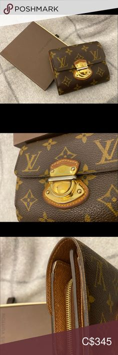 Louis Vuitton Monogram bi-fold wallet Joey Condition- Used Grade B I had my initials embossed on the wallet but it's fading. You can see the gold colour on the metal that is fading also, wear and tear  It comes with dust bag and Louis Vuitton box  Purchased from Louis Vuitton Maison at Hotel Vancouver, Canada. Louis Vuitton Bags Wallets