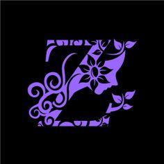 Graphic Design of Flower Clipart - Purple Alphabet Z with Black Background