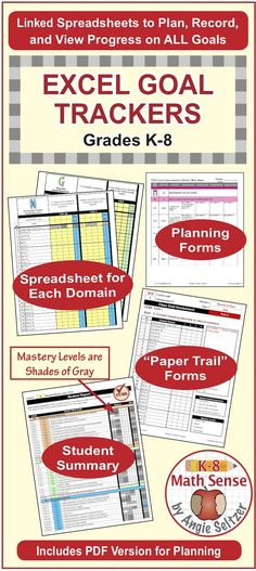 Grade 7 Common Core Math EXCEL Goal Tracker Spreadsheet with Paper - excel spreadsheets