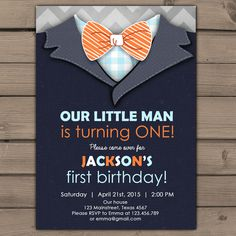 Little Man Birthday Invitation Baby Boy Invite Blue gray chevron with photo Bow tie Invitation Boy Birthday party Printable digital ANY AGE by Anietillustration on Etsy https://www.etsy.com/listing/225060896/little-man-birthday-invitation-baby-boy
