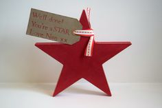 Beautiful wooden freestanding star made from 18mm MDF and standing 19cm high at the highest point. Painted with high quality Annie Sloan Chalk Paint and waxed to create a vintage shabby chic look. These stars are an ideal gift to congratulate someone and make a lovely keepsake. They are £10 each. http://etsy.me/29R3nX0