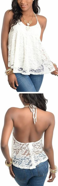 Ivory Lace Halter Top ♥