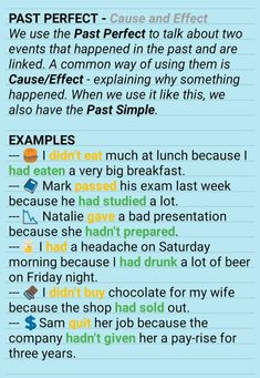 PAST PERFECT Cause / Effect - AskPaul English # learn english, learn english child, easy english, en Teaching English Grammar, English Grammar Worksheets, English Writing Skills, English Sentences, English Idioms, English Language Learning, English Lessons, English Vocabulary, Learning Spanish