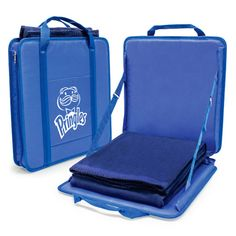 PORTABLE STADIUM SEAT & BLANKET SET - Portable Stadium seat is constructed with 600D polyester, fiberglass rods for back support, front slip pocket, and carry handles.