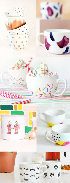 The BEST DIY mugs that are cheap & easy to make! Sharpie mugs, painted mugs, and more! These would make great gift ideas filled with fun treats.