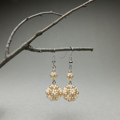 Items similar to Beaded sweets earrings; cream & latte, dangle drop on Etsy How To Make Earrings, Seed Beads, Latte, Unique Gifts, Dangles, Drop Earrings, Pearls, Cream, Sweet