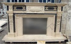 thegatz - Contemporary Multi Tone Marble Fireplace Mantel
