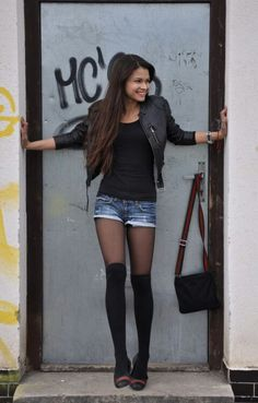 hiGH kNEE sOCKS & lEATHER jACKET yup only with some combat boots or something like that!