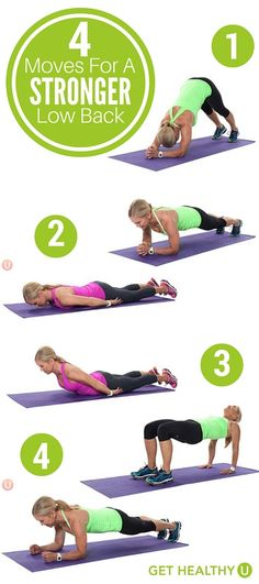 4 Moves For A Stronger Low Back - Get Healthy U - - Low back pain is the single leading cause of disability. You can manage or prevent lower back pain with these four exercises. Add them to your next workout! Fitness Workouts, Sport Fitness, At Home Workouts, Fitness Tips, Health Fitness, Fat Workout, Yoga Fitness, Workout Plans, Women's Health