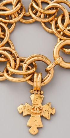 §❥ Vintage Chanel Cross Charm Bracelet