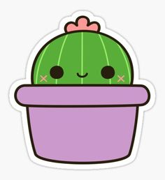 'Cactus with flower in cute pot' Sticker by peppermintpopuk C. - 'Cactus with flower in cute pot' Sticker by peppermintpopuk Cactus with a flo - Stickers Kawaii, Cactus Stickers, Laptop Stickers, Cute Stickers, Cute Easy Drawings, Cute Kawaii Drawings, Image Cactus, Griffonnages Kawaii, Doodles Kawaii