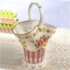 Gorgeous Ceramic Cabas Flower Vase Painted Pottery