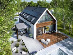 Projekt domu EX 19 Energo Plus - Cantilever Architecture, Residential Architecture, Architecture Design, Modern Barn House, Modern House Design, Design Exterior, Modern Farmhouse Exterior, Dream House Exterior, Facade House