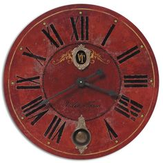 Villa Tesio Weathered Red 30 Inch Wall Clock Timeworks By Uttermost Wall Mounted Clock Clo