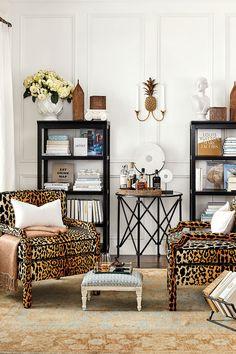 Ballard Designs' Serengeti animal print fabric on two exposed arm chairs My Living Room, Living Room Chairs, Living Room Furniture, Home Furniture, Living Room Decor, Living Spaces, Furniture Upholstery, Ballard Designs, Decorating Your Home
