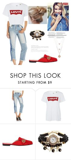 """Levi's on"" by annbs ❤ liked on Polyvore featuring Hidden, Levi's, Gucci, denim, gucci, mules, DENIMCUTOFFS and Levis"