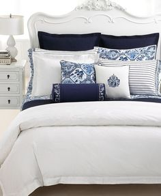 "our bedding - Lauren by Ralph Lauren Bedding, Blue and White ""Palm Harbor"" Navy Blue Bedrooms, Coastal Bedrooms, Blue Rooms, White Rooms, Blue And White Bedding, White Duvet, White Comforter Bedroom, Navy Blue Cushions, Coastal Bedding"