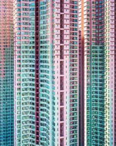 Blue and purple buildings, as captured by Victor Cheng.
