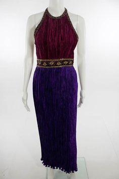 MARY MCFADDEN COUTURE HENRI BENDEL Purple Pink Shirred Beaded Maxi Dress Sz 4 #MaryMcFaddenCoutureHenriBendel #Maxi #Cocktail