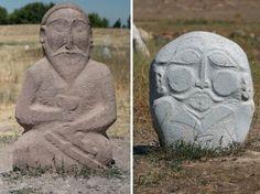 Left: Balbal statue holding a bowl. Right: Plain Balbal statue in Kazakhstan.
