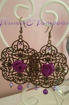 Boucles d'oreilles métal bronze rose de couleur violette