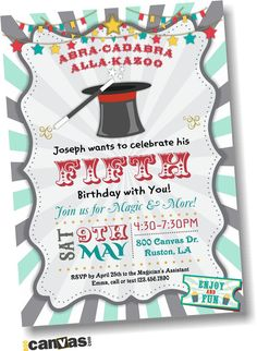 Photo Magician Birthday Invitation. Magician Party by 800Canvas