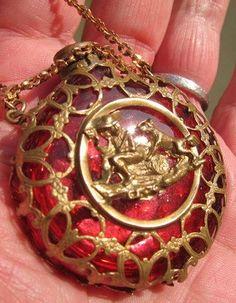 Antique Victorian Cranberry Glass Scent Perfume Bottle Ormolu Chatelaine