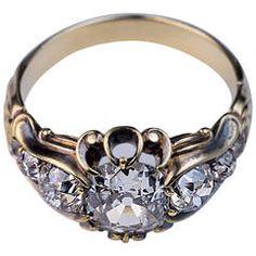 Antique Mid 1800s Diamond Gold Ring