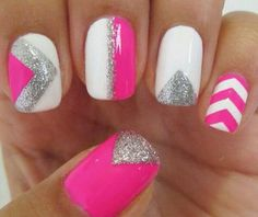 Half Pink White Little Bit Of Silver With A Design Nail Designs