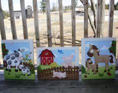 Conjunto de animales de granja 3 estira lienzos bebé vivero lona dormitorio pared arte 3CS064