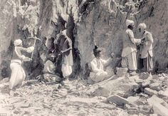 Hard labour: Workers quarry in Baluchistan, in 1900. The photo forms part of a collection that offers an insight into how Bremner viewed the Indian empire
