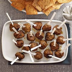 Meatballs aren't always the healthiest option when it comes to appetizer recipes, but our lean version is perfect for meat-lovers. A sweet yet tangy molasses-lime sauce adds bold flavor to the bite-size snacks made from beef, sausage, and oats. Best Appetizer Recipes, Healthy Appetizers, Appetizers For Party, Party Recipes, Party Snacks, Free Recipes, Slow Cooker Appetizers, Slow Cooker Recipes, Cooking Recipes