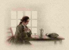 Tee-heure-de-Jean-Droit-tea-time-Original-farblithographie-pour-1940