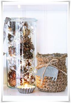 diy idea:  nice combo:  string lights, cones, hemp, sand cake mold