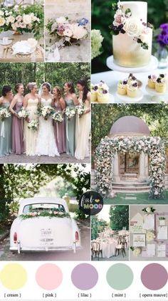Pastel Wedding Colour Palette { Cream,Lilac,Mauve and Mint green wedding } fabmood.com #wedding #springwedding #weddingcolor #mauvewedding #lilacwedding #pastelwedding