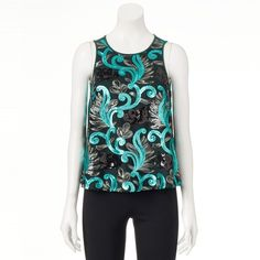 Women's Wdny Black Sequin Tank ($38) ❤ liked on Polyvore featuring tops, med green, sequin tank top, white tank, white top, floral tank top and green sequin tank