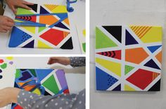 art projects Fun Canvas Art for Kids. Or take away the canvas but use the tape to create shapes for a fun art/math activity. Tape Painting, Easy Canvas Painting, Easy Paintings, Painting For Kids, Art For Kids, Kids Fun, Canvas Artwork, Art Children, Painted Canvas