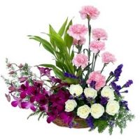 Carnation, Roses, Orchids Basket , Carnation, Roses, Orchids Basket. This flowers arrangement specially design for birthday and anniversary with white roses, pink carnations, orchids and exotic fillers. , http://www.filipinasgifts.com/flower-arrangements/mother-s-day-flowers/carnation-roses-orchids-basket.html