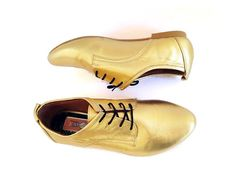 Leather Brogue Oxford Golden UPON REQUEST Mina by MinaShoes