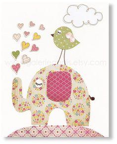 Kids wall art, baby nursery decor, nursery wall art, children print, elephant, Birds, hearts, Lots Of Love 8x10 print. $14.00, via Etsy.