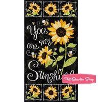 You Are My Sunshine Black Sunflower Chalkboard Quilt Panel <br/>SKU