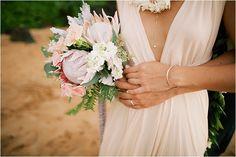 Breezy Hawaiian Wedding - Jinny + Adam - The Daily Wedding - beautiful bridal bouquet and wedding dress + delicate jewelry - beach wedding - beach bride - Anna Kim Photography