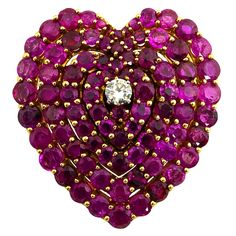 Ruby and Diamond Heart brooch/pendant with secret locket Red Jewelry, Heart Jewelry, Vintage Jewelry, Fine Jewelry, Unique Jewelry, Jewellery, Diamond Heart, Heart Ring, Malva